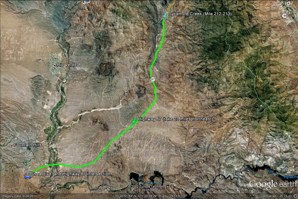 Map Of Highway 87 Arizona.Birderfrommaricopa Com